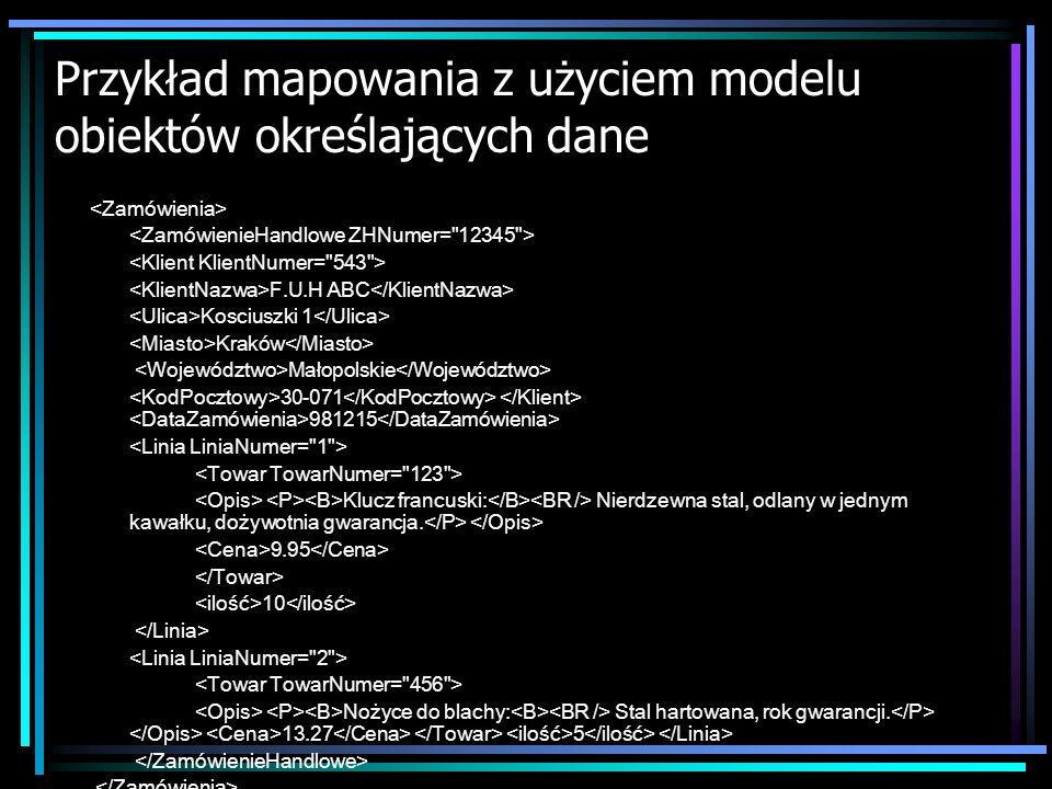 Przykład mapowania z użyciem modelu obiektów określających dane