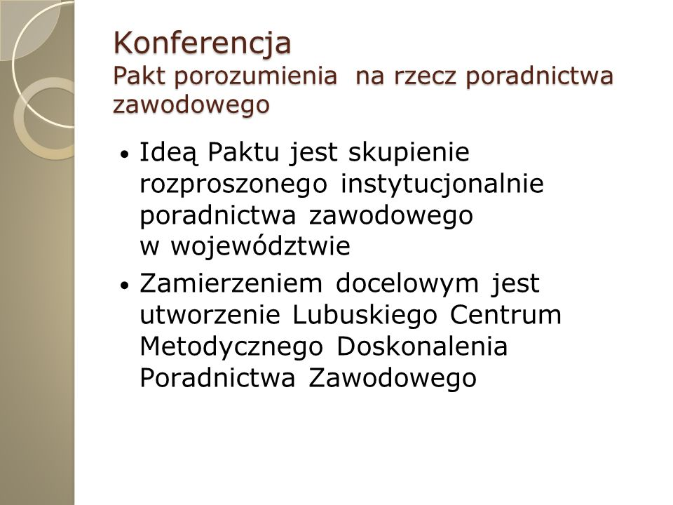 Konferencja Pakt porozumienia na rzecz poradnictwa zawodowego