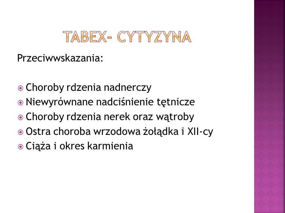 TABEX- cytyzyna Przeciwwskazania: Choroby rdzenia nadnerczy