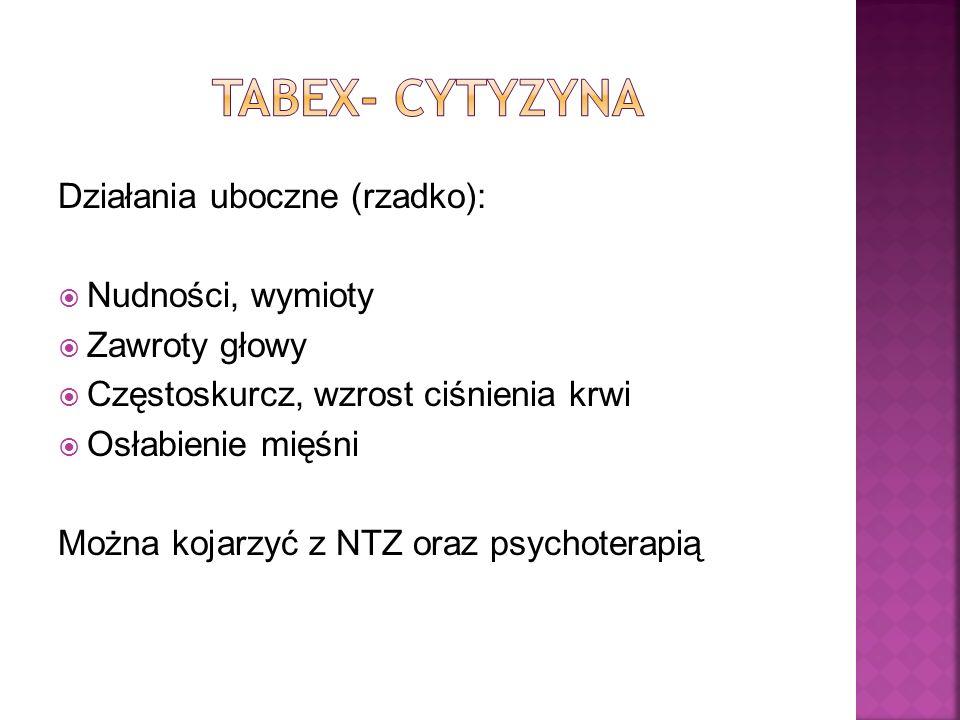 TABEX- cytyzyna Działania uboczne (rzadko): Nudności, wymioty