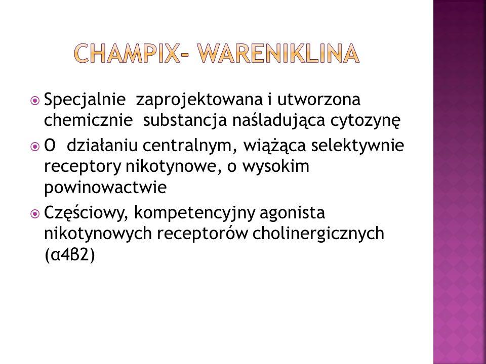 CHAMPIX- Wareniklina Specjalnie zaprojektowana i utworzona chemicznie substancja naśladująca cytozynę.