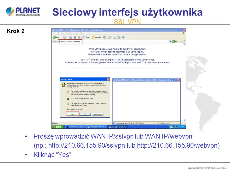 Sieciowy interfejs użytkownika SSL VPN