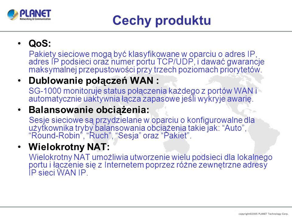 Cechy produktu QoS: Dublowanie połączeń WAN : Balansowanie obciążenia: