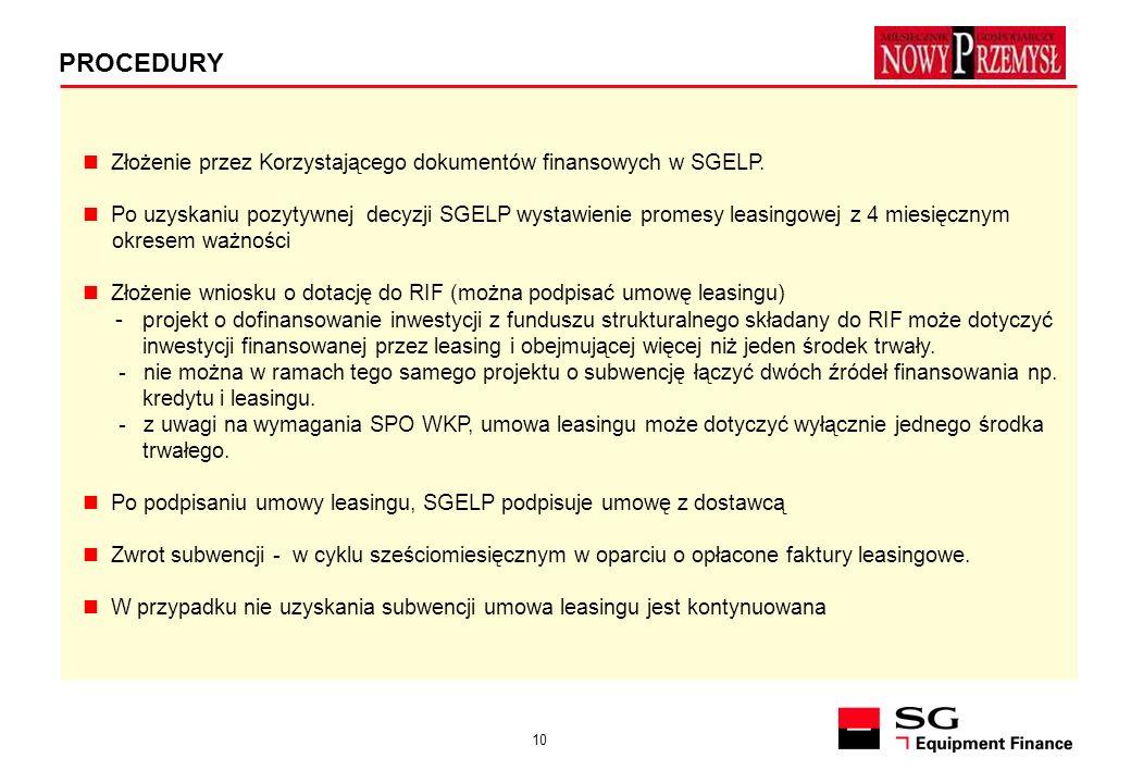 PROCEDURYZłożenie przez Korzystającego dokumentów finansowych w SGELP.