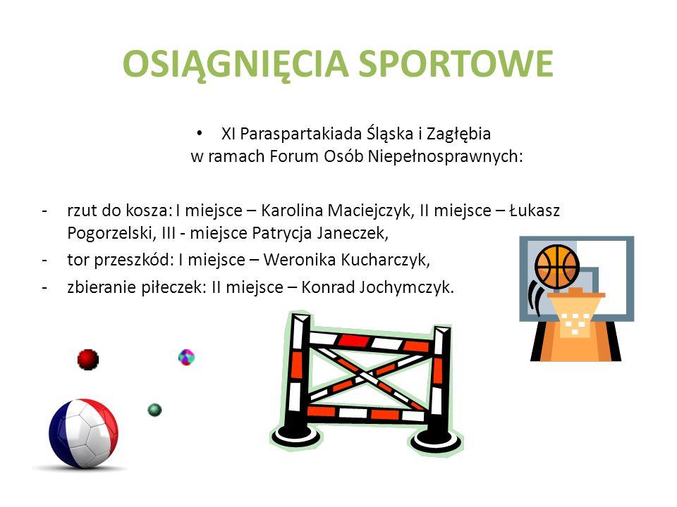 OSIĄGNIĘCIA SPORTOWE XI Paraspartakiada Śląska i Zagłębia w ramach Forum Osób Niepełnosprawnych: