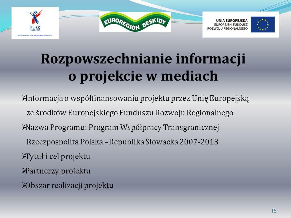 Rozpowszechnianie informacji o projekcie w mediach