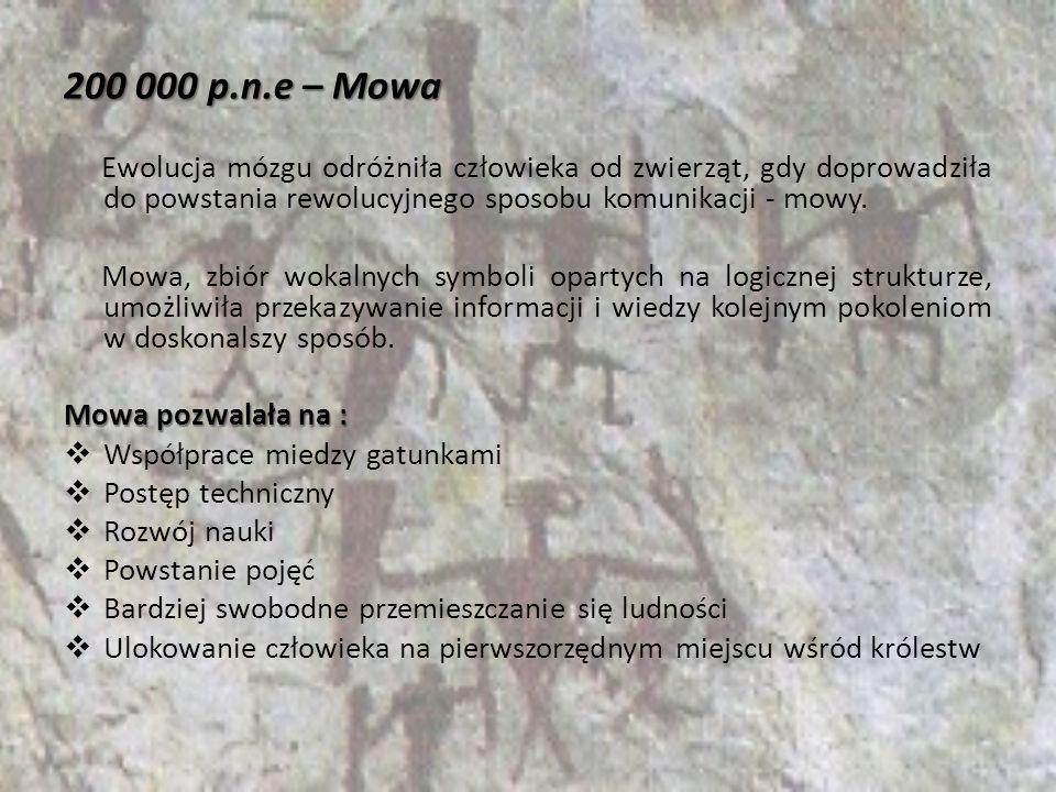 200 000 p.n.e – Mowa Ewolucja mózgu odróżniła człowieka od zwierząt, gdy doprowadziła do powstania rewolucyjnego sposobu komunikacji - mowy.
