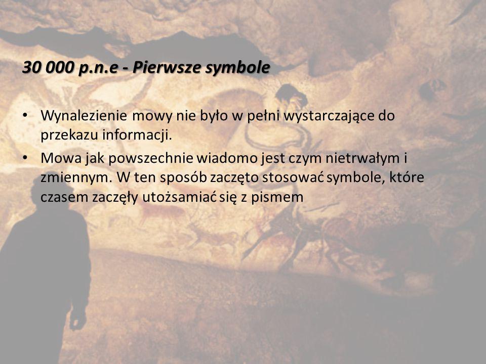 30 000 p.n.e - Pierwsze symbole Wynalezienie mowy nie było w pełni wystarczające do przekazu informacji.