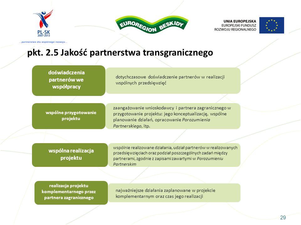 pkt. 2.5 Jakość partnerstwa transgranicznego
