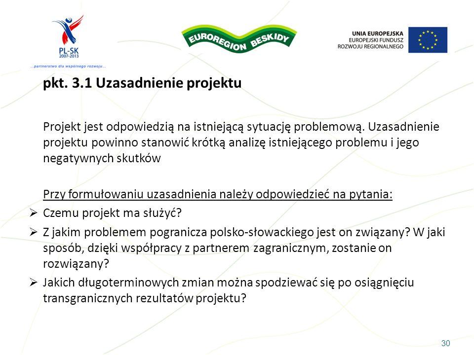 pkt. 3.1 Uzasadnienie projektu