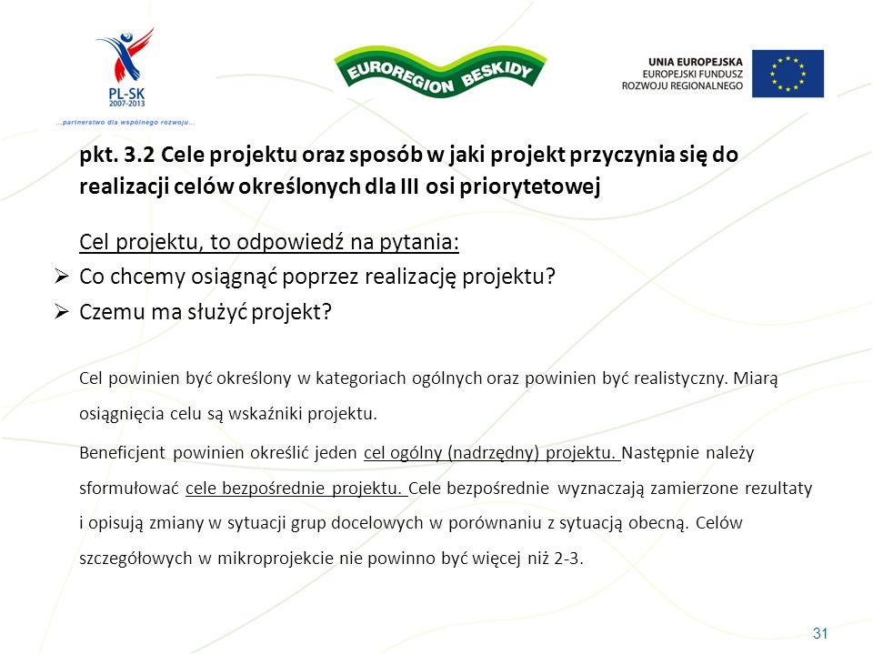 pkt. 3.2 Cele projektu oraz sposób w jaki projekt przyczynia się do realizacji celów określonych dla III osi priorytetowej