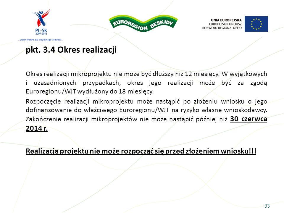 pkt. 3.4 Okres realizacji