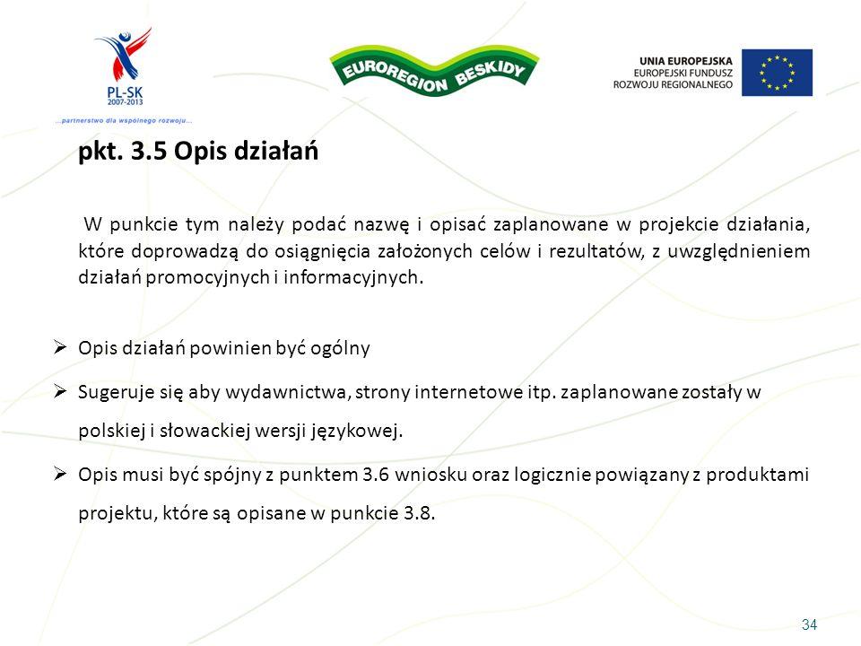 pkt. 3.5 Opis działań