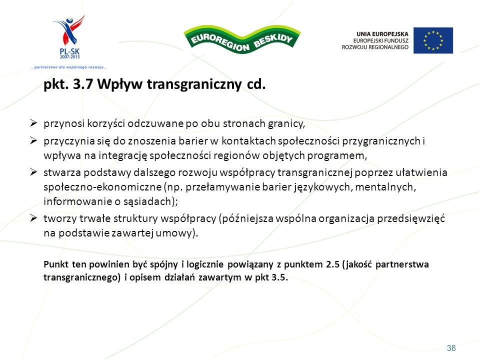 pkt. 3.7 Wpływ transgraniczny cd.