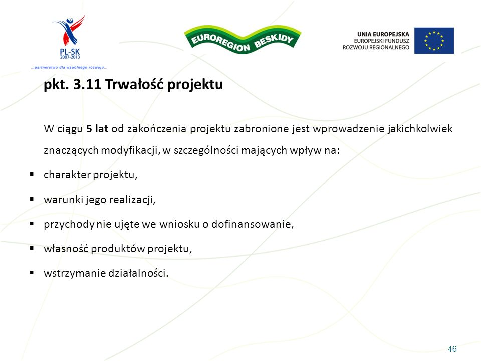 pkt. 3.11 Trwałość projektu