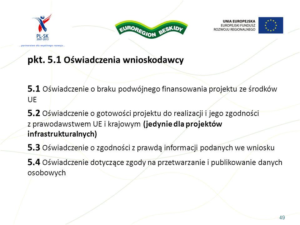 pkt. 5.1 Oświadczenia wnioskodawcy