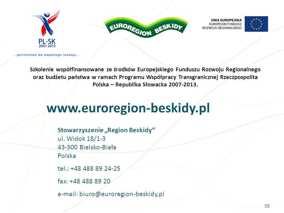 Szkolenie współfinansowane ze środków Europejskiego Funduszu Rozwoju Regionalnego oraz budżetu państwa w ramach Programu Współpracy Transgranicznej Rzeczpospolita Polska – Republika Słowacka 2007-2013.