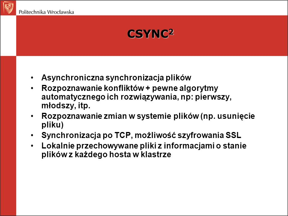 CSYNC2 Asynchroniczna synchronizacja plików