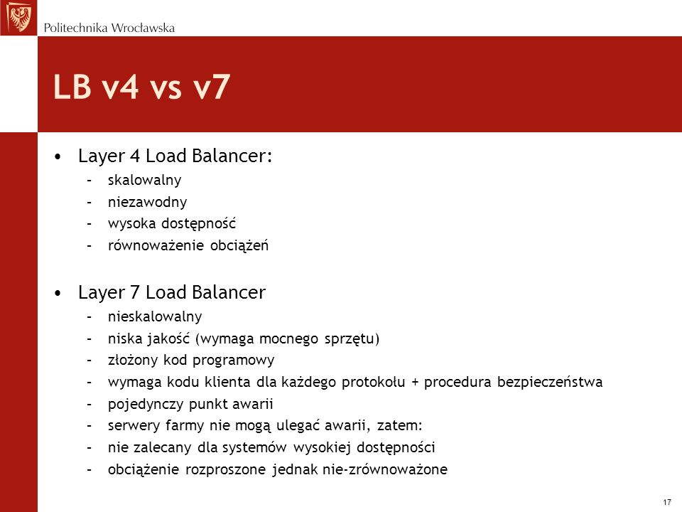 LB v4 vs v7 Layer 4 Load Balancer: Layer 7 Load Balancer skalowalny