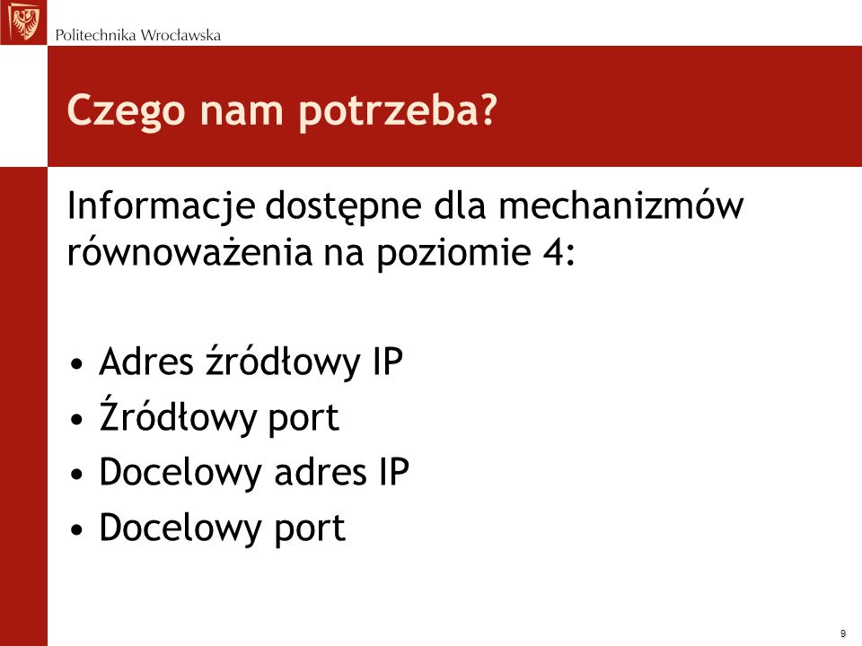 Czego nam potrzeba Informacje dostępne dla mechanizmów równoważenia na poziomie 4: Adres źródłowy IP.