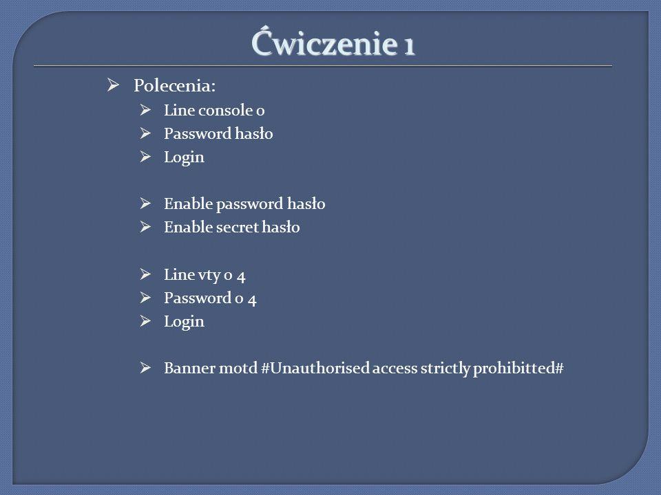 Ćwiczenie 1 Polecenia: Line console 0 Password hasło Login