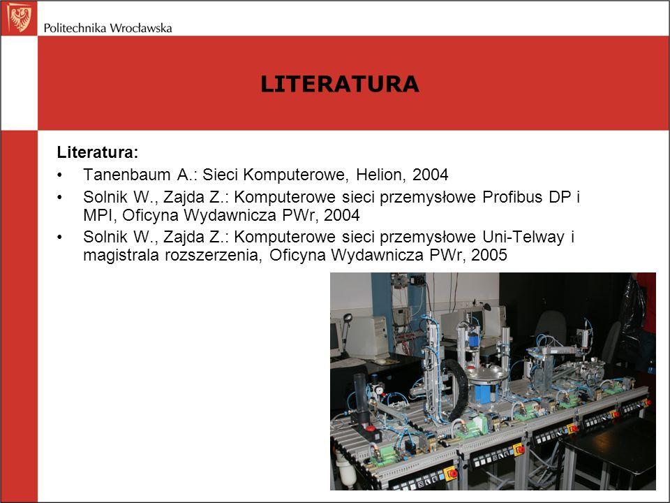 LITERATURA Literatura: Tanenbaum A.: Sieci Komputerowe, Helion, 2004