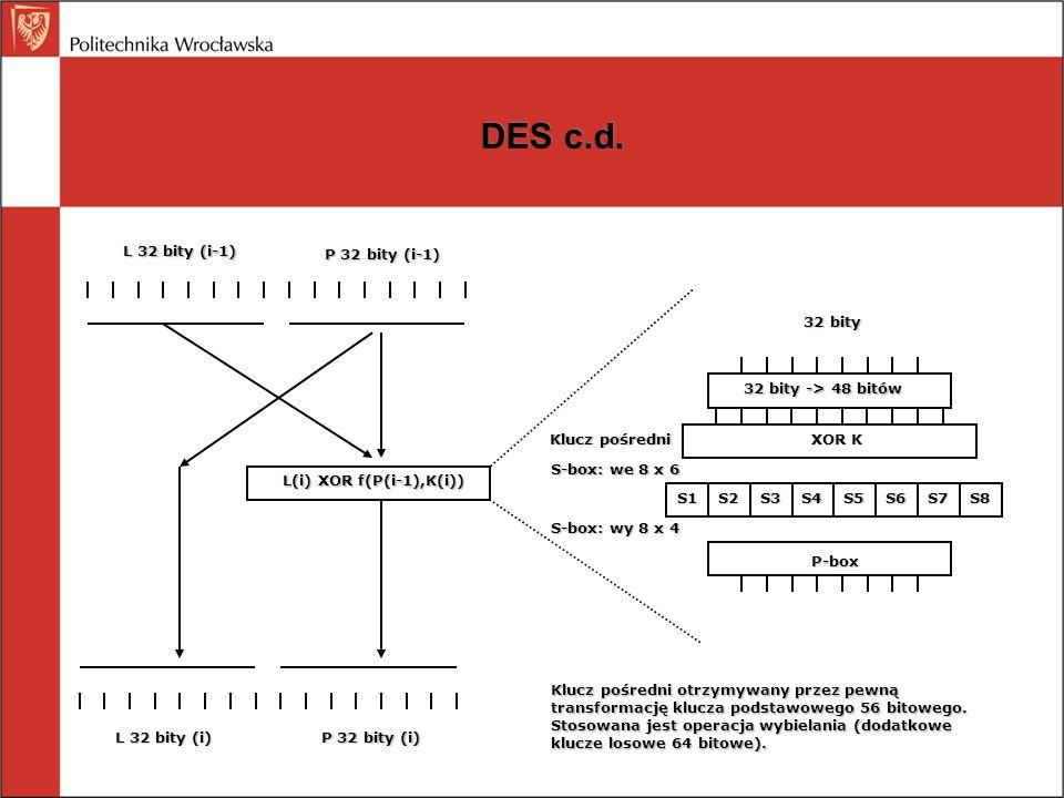 DES c.d. L 32 bity (i-1) P 32 bity (i-1) 32 bity
