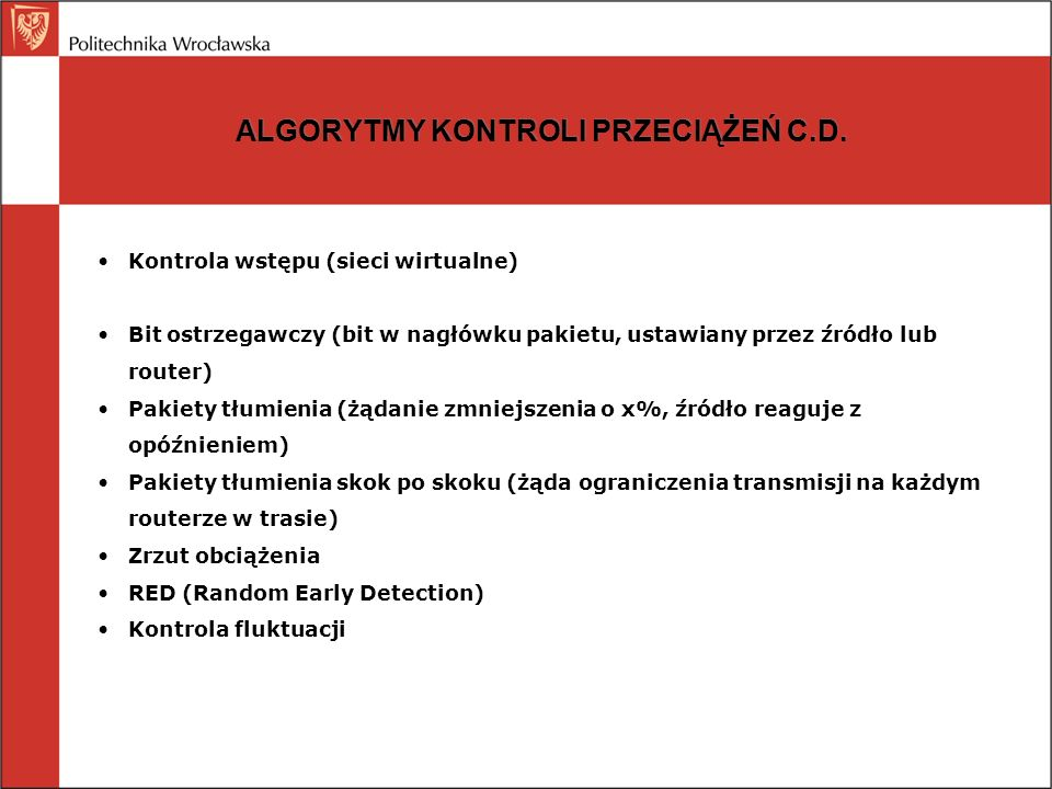 ALGORYTMY KONTROLI PRZECIĄŻEŃ C.D.
