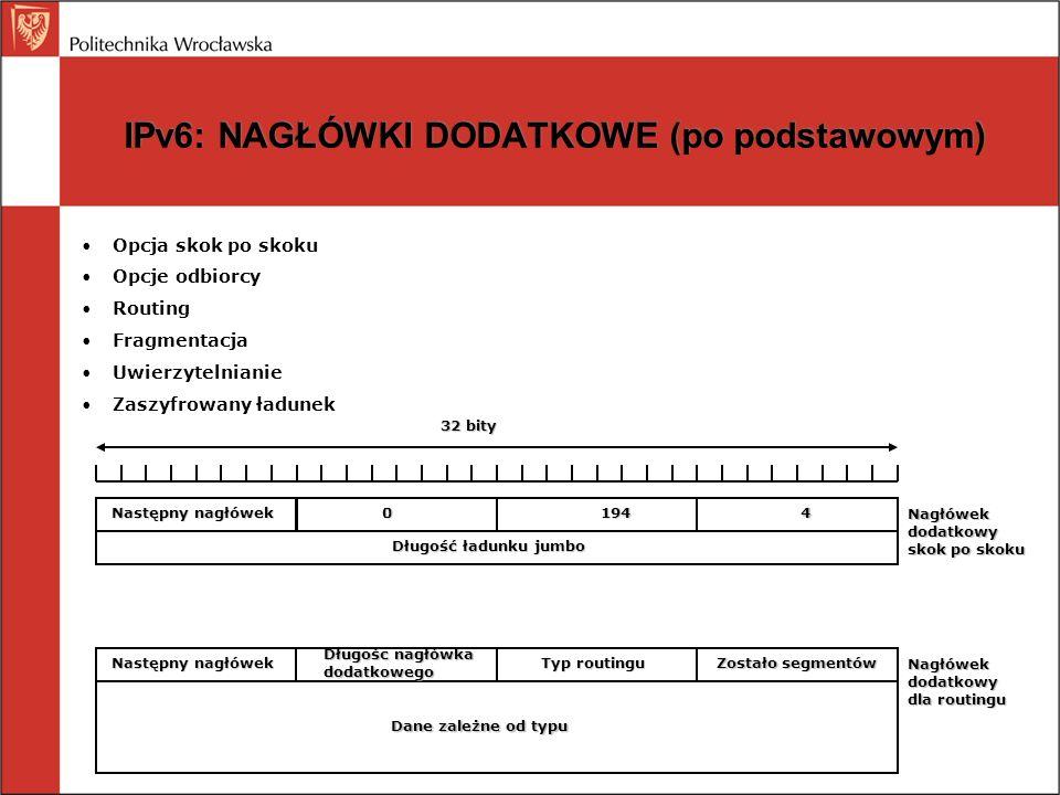 IPv6: NAGŁÓWKI DODATKOWE (po podstawowym)