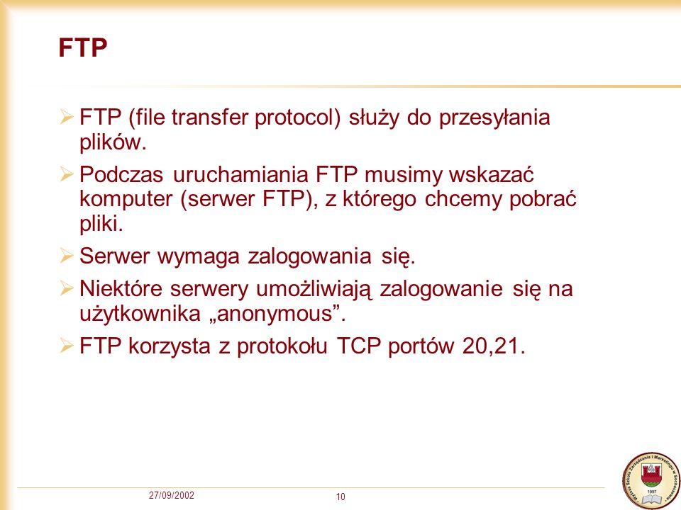 FTP FTP (file transfer protocol) służy do przesyłania plików.
