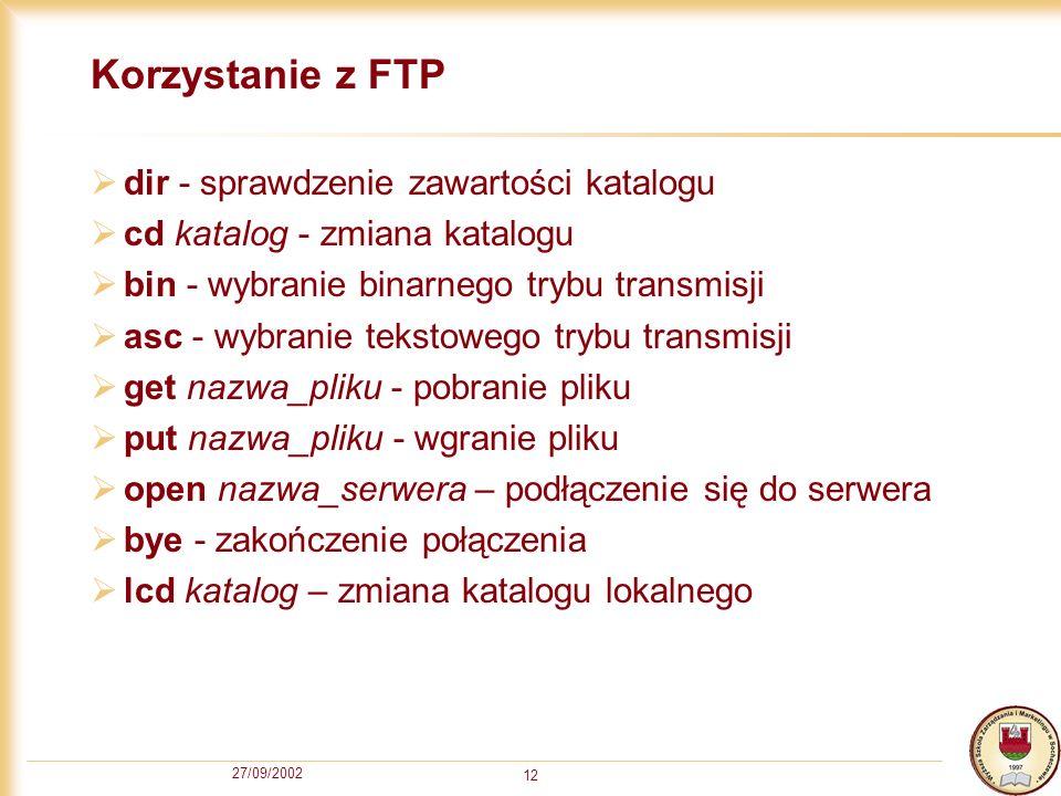 Korzystanie z FTP dir - sprawdzenie zawartości katalogu
