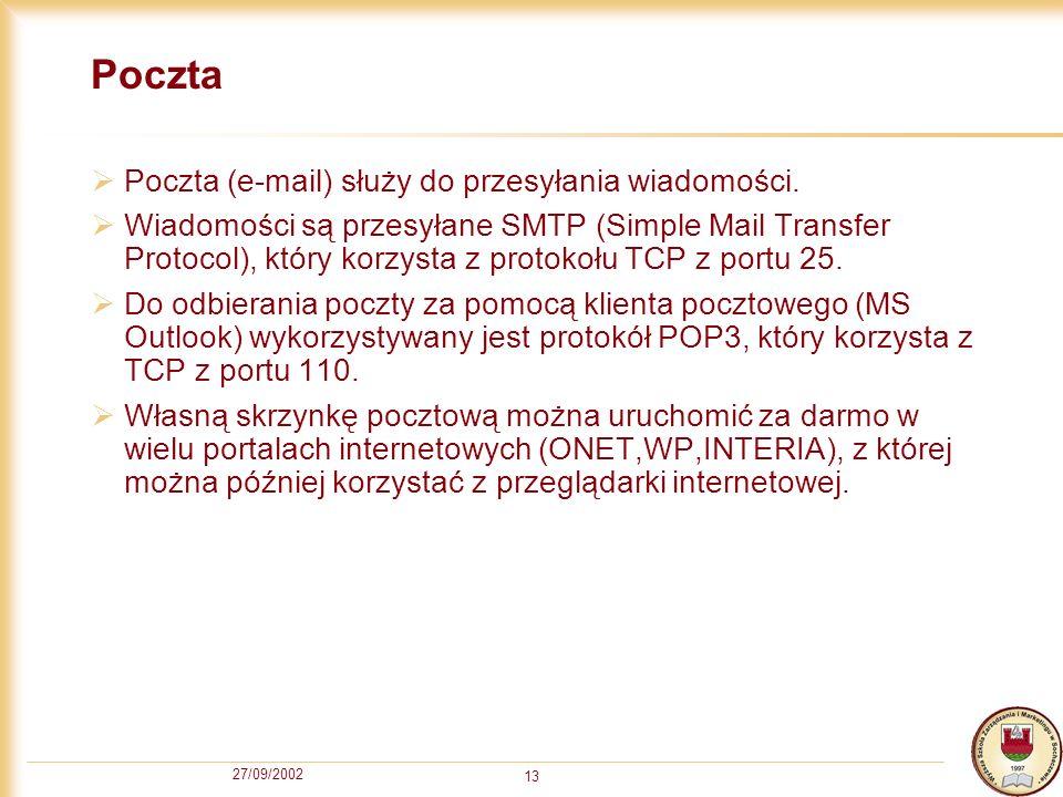 Poczta Poczta (e-mail) służy do przesyłania wiadomości.