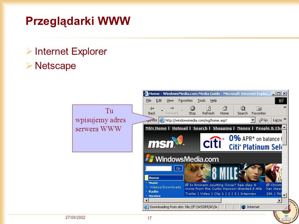 Przeglądarki WWW Internet Explorer Netscape