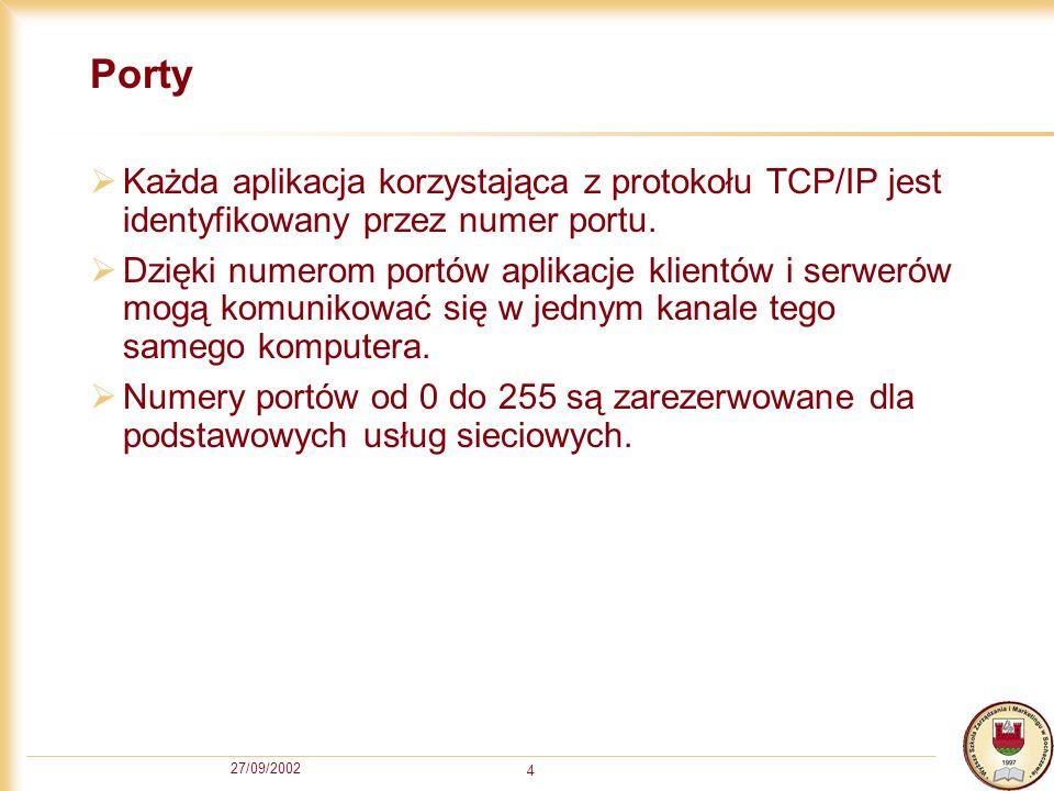 PortyKażda aplikacja korzystająca z protokołu TCP/IP jest identyfikowany przez numer portu.
