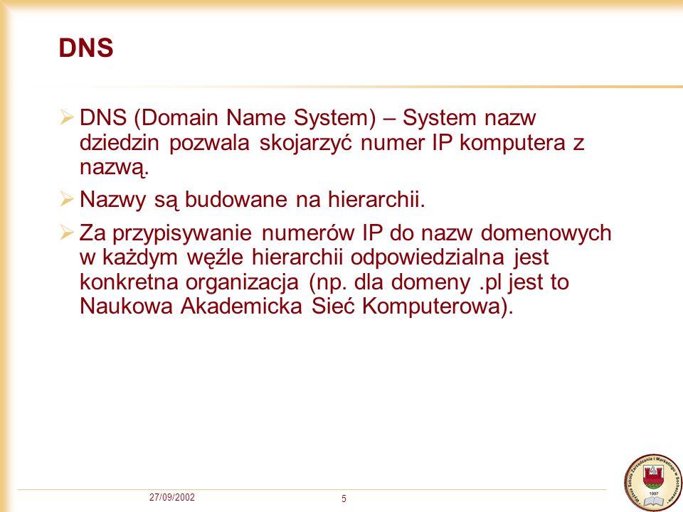 DNS DNS (Domain Name System) – System nazw dziedzin pozwala skojarzyć numer IP komputera z nazwą. Nazwy są budowane na hierarchii.