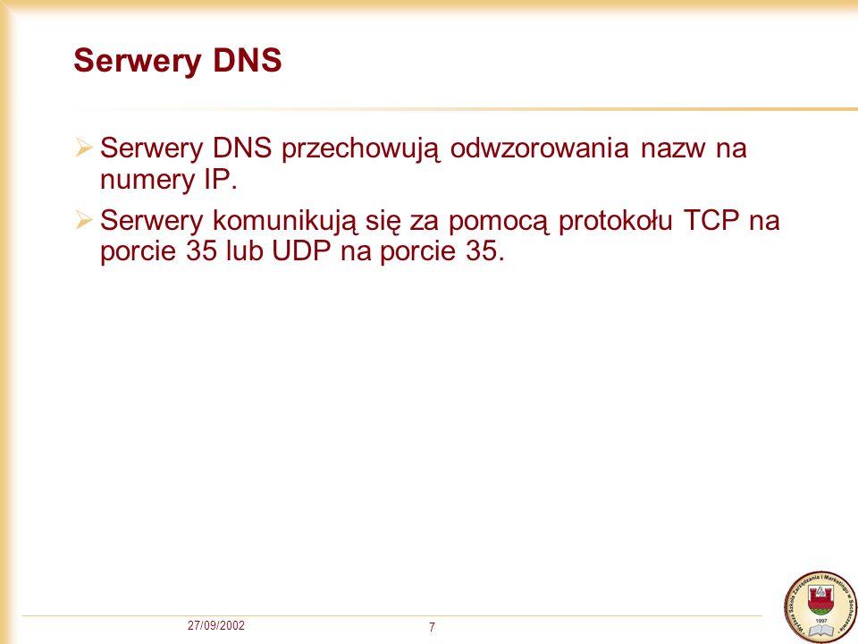 Serwery DNS Serwery DNS przechowują odwzorowania nazw na numery IP.