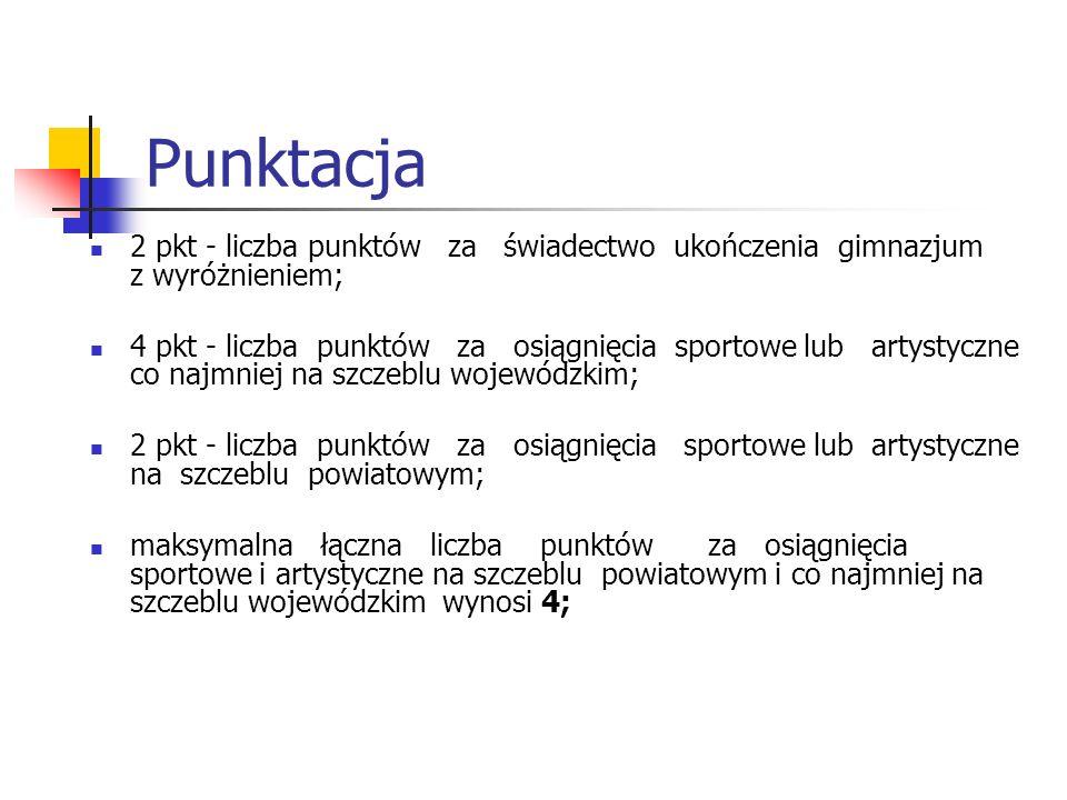 Punktacja 2 pkt - liczba punktów za świadectwo ukończenia gimnazjum z wyróżnieniem;