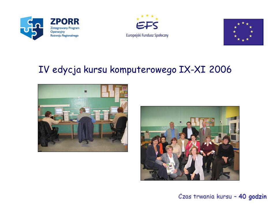 IV edycja kursu komputerowego IX-XI 2006