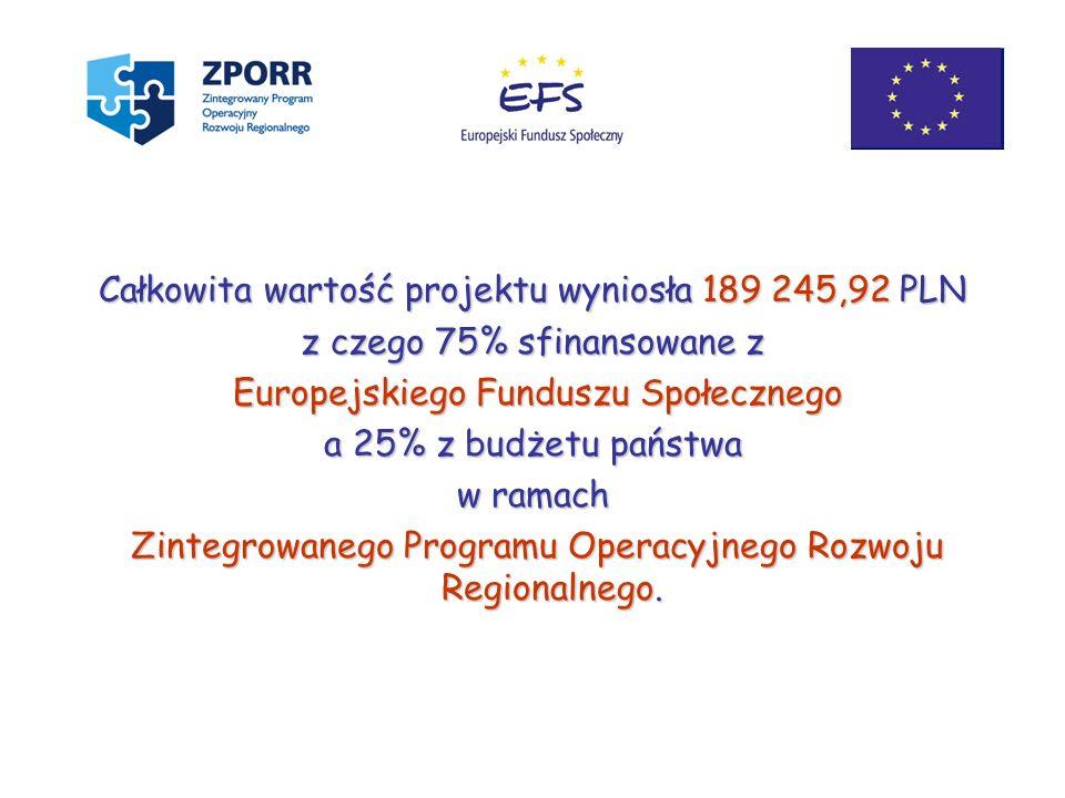 Całkowita wartość projektu wyniosła 189 245,92 PLN