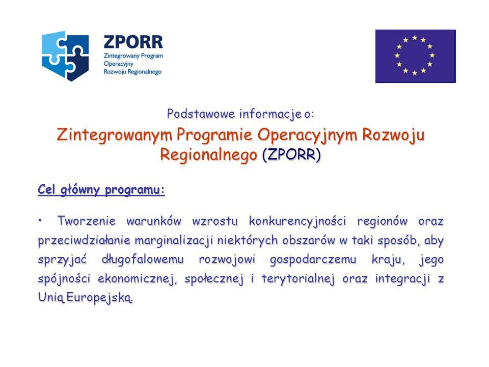 Zintegrowanym Programie Operacyjnym Rozwoju Regionalnego (ZPORR)