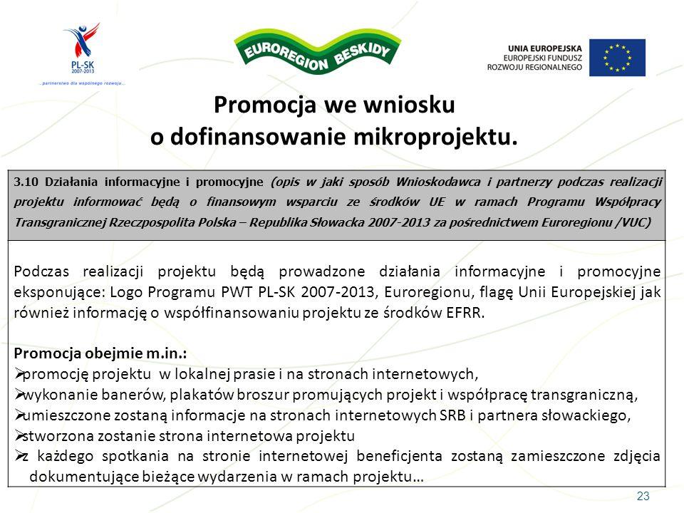 Promocja we wniosku o dofinansowanie mikroprojektu.