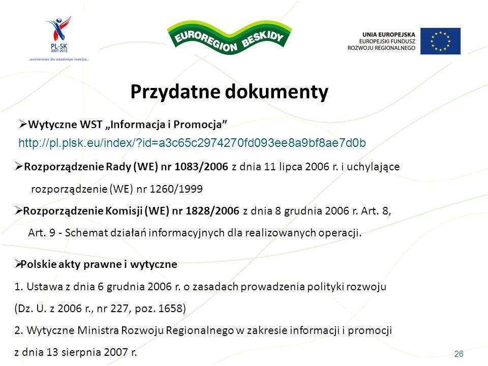 """Przydatne dokumenty Wytyczne WST """"Informacja i Promocja"""