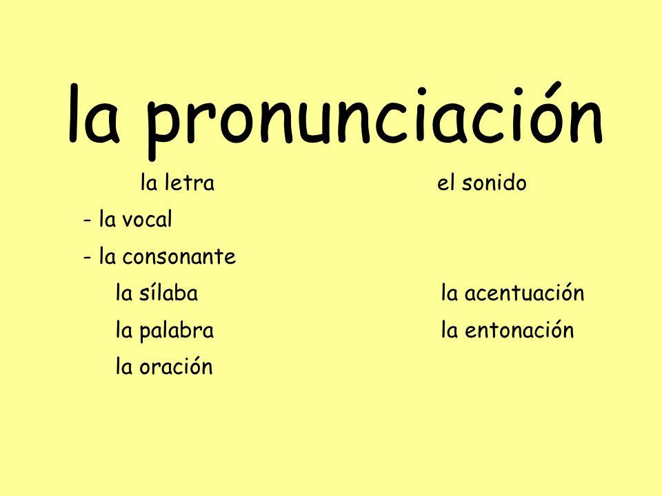 la pronunciación la letra el sonido - la vocal - la consonante