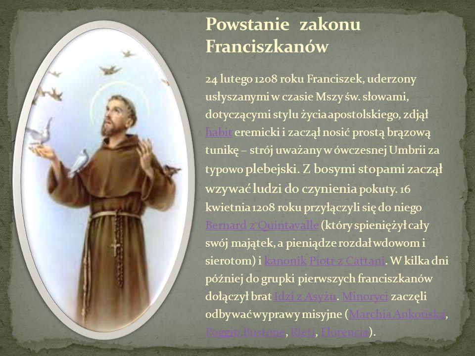 Powstanie zakonu Franciszkanów