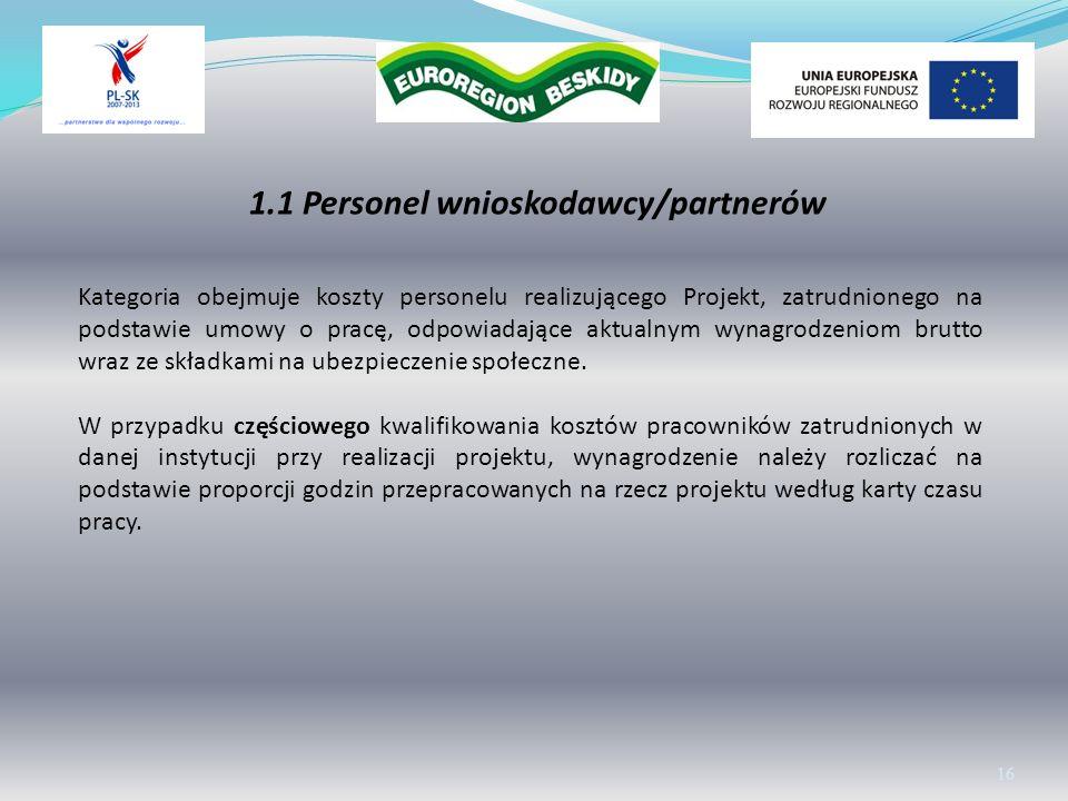 1.1 Personel wnioskodawcy/partnerów