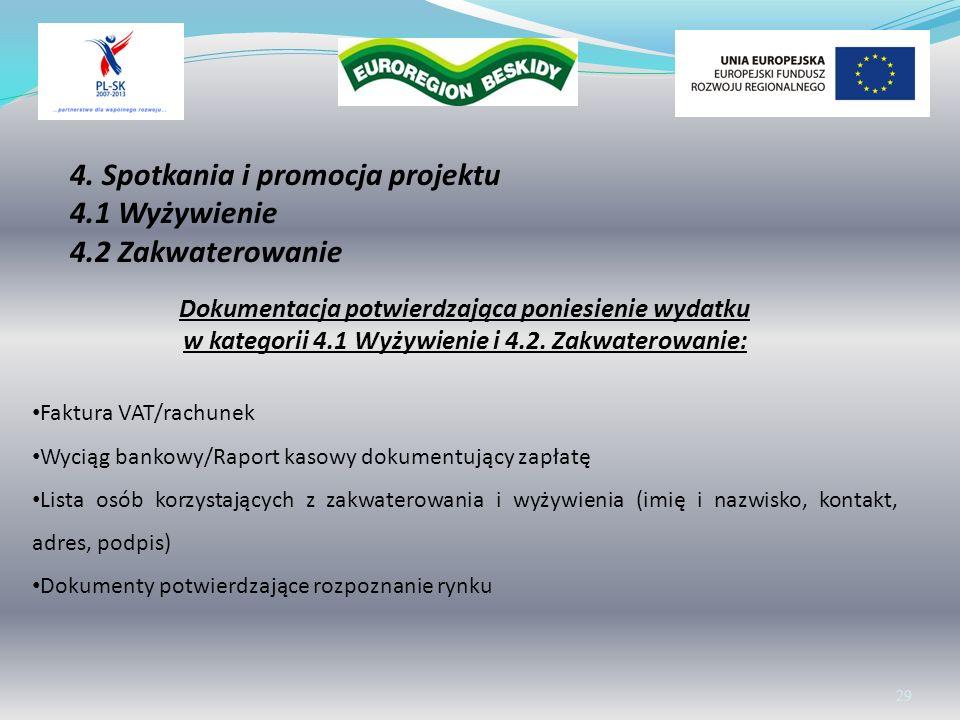 4. Spotkania i promocja projektu 4.1 Wyżywienie 4.2 Zakwaterowanie