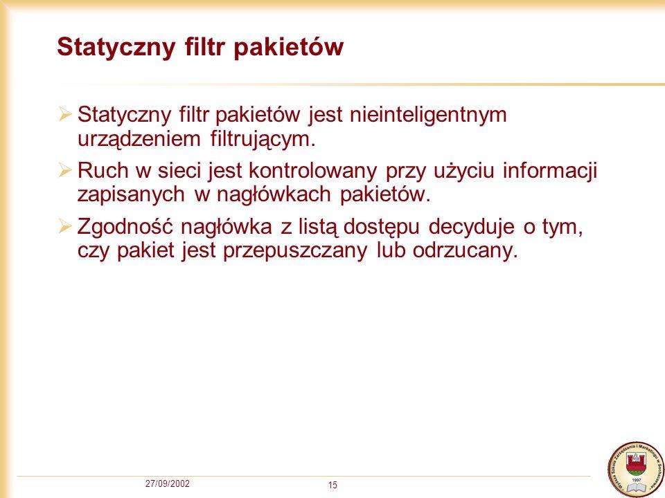 Statyczny filtr pakietów