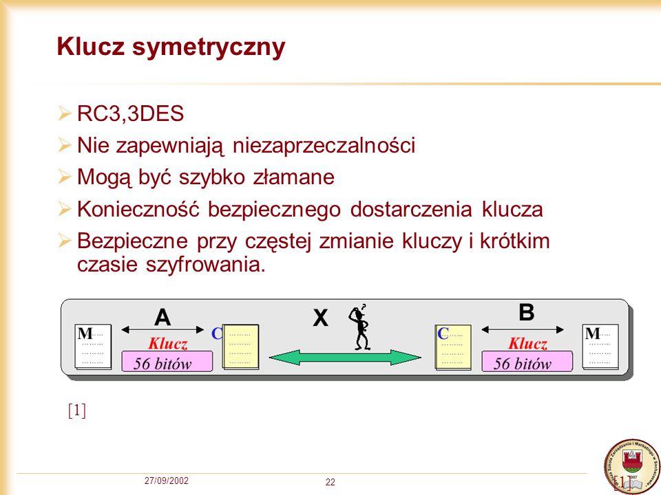 Klucz symetryczny RC3,3DES Nie zapewniają niezaprzeczalności
