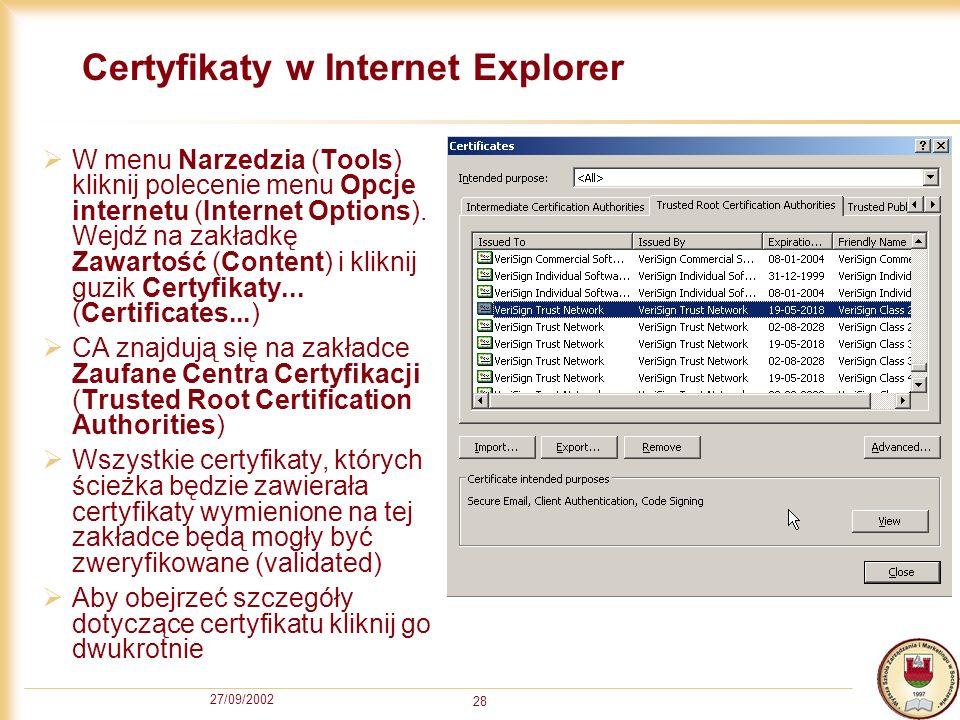 Certyfikaty w Internet Explorer