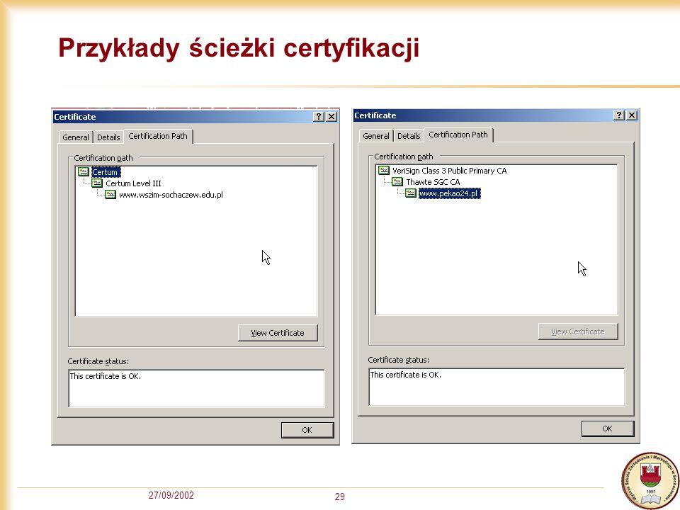 Przykłady ścieżki certyfikacji